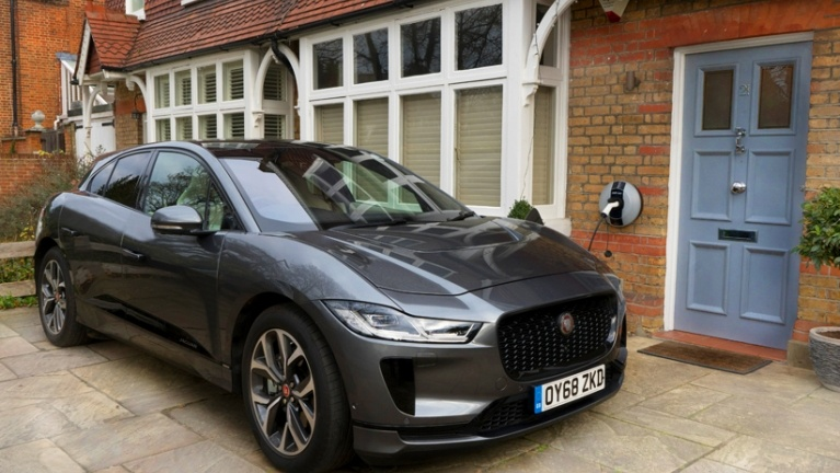Electric car on charge at home